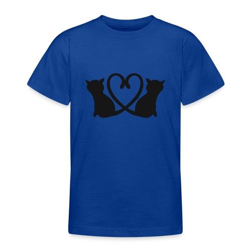Katzen bilden ein Herz mit ihren Schwänzen - Teenager T-Shirt