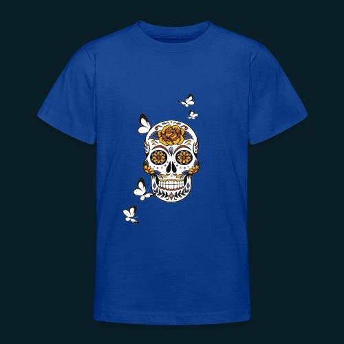 Totenkopf mit Schmetterlingen - Teenager T-Shirt