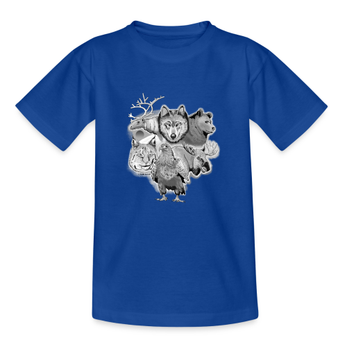 10-02 Susi, poro, karhu, ilves, kotka, hirvi-lahja - Nuorten t-paita