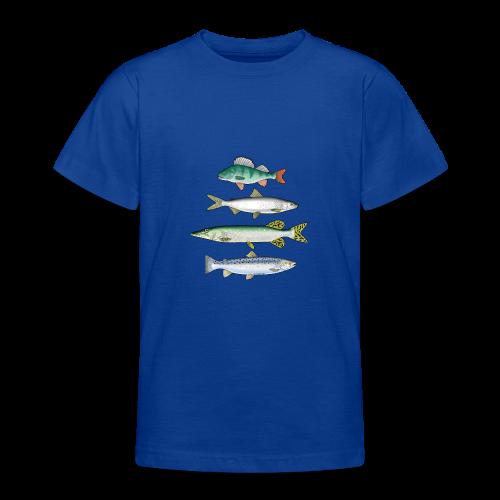 10-34 FOUR FISH - Ahven, siika, hauki ja taimen - Nuorten t-paita