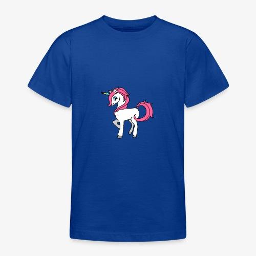 Süsses Einhorn mit rosa Mähne und Regenbogenhorn - Teenager T-Shirt