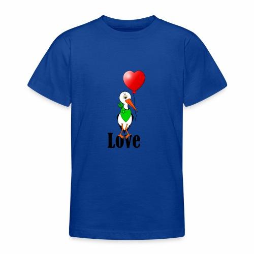 Storch mit Herzluftballon - Teenager T-Shirt