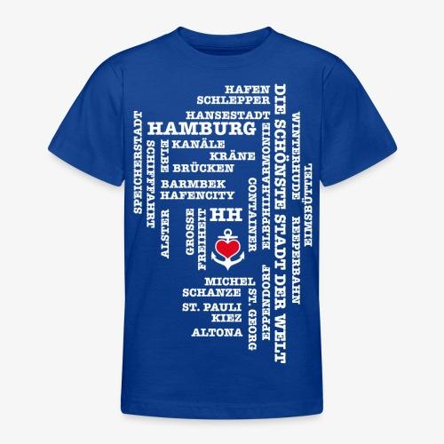 Hamburg Begriffe / Herz auf Anker / Text weiss - Teenager T-Shirt
