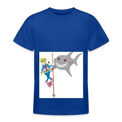 Taucher mit weißen Hai - Teenager T-Shirt