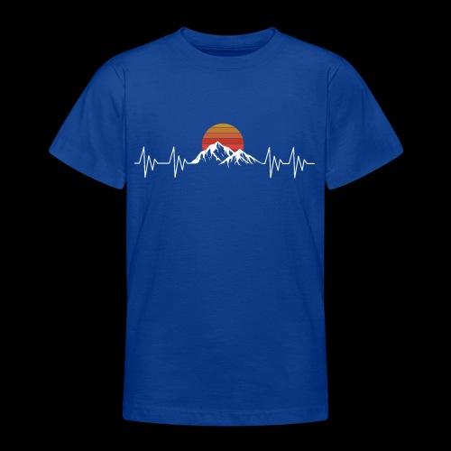 Heartbeat Berge - Herzschlag Wanderer T-Shirt - Teenager T-Shirt