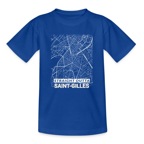 Straight Outta Saint-Gilles city map and streets - Teenage T-Shirt