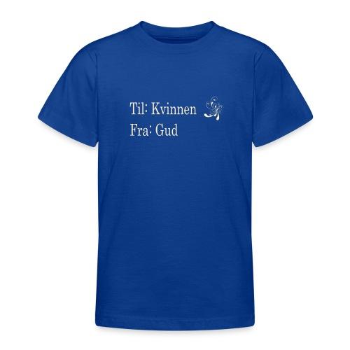 Til kvinnen fra gud, gull no border, sort hettegen - T-skjorte for tenåringer