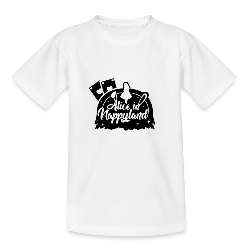 Alice in Nappyland TypographyWhite with background - Teenage T-Shirt