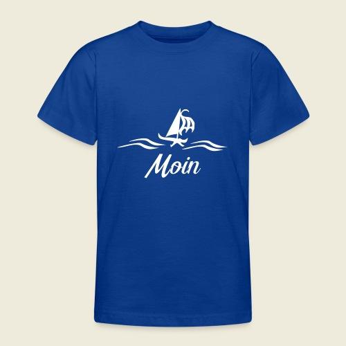 Moin mit Schiff in weiß - Teenager T-Shirt
