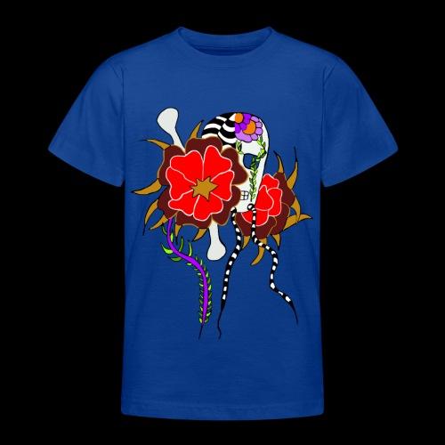 Le skull et les fleurs rouges - T-shirt Ado
