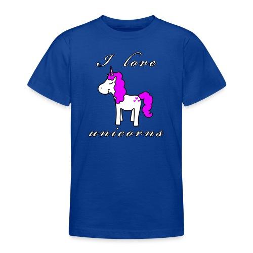 Einhorn schwarz - Teenager T-Shirt