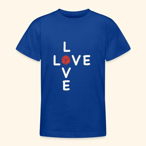 LOVE Cross white wuerfel red 001 - Teenager T-Shirt