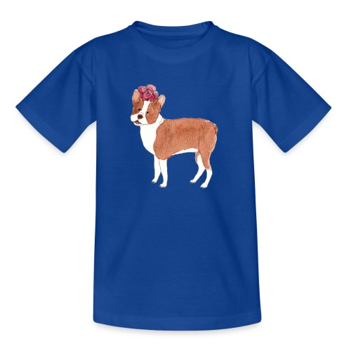 boston terrier with flower - Teenager-T-shirt