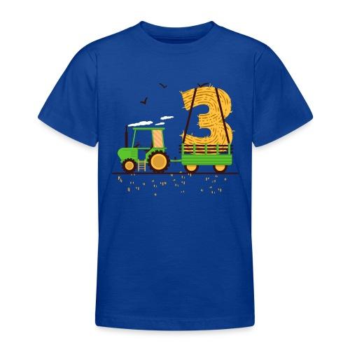 Traktor mit Anhänger 3. Geburtstag Geschenk Drei - Teenager T-Shirt