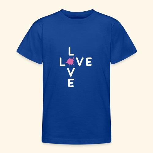 LOVE Cross white klecks pink 001 - Teenager T-Shirt
