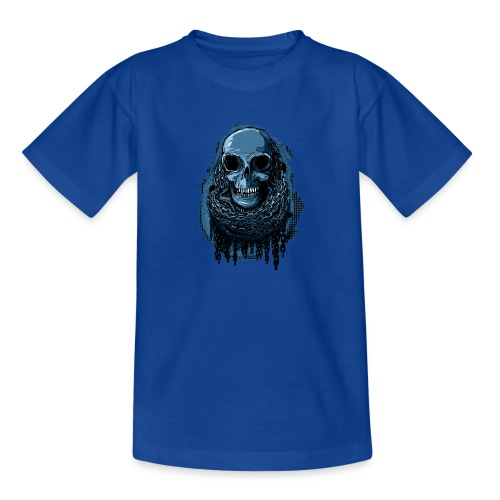 SKULL in CHAINS - deepBlue - Teenage T-Shirt