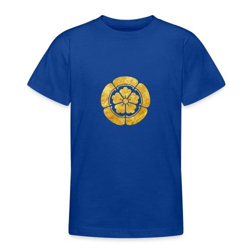 Oda Mon Japanese samurai clan faux gold on black - Teenage T-Shirt