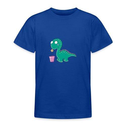 Kleiner Dinosaurier mit Blumentopf - Teenager T-Shirt