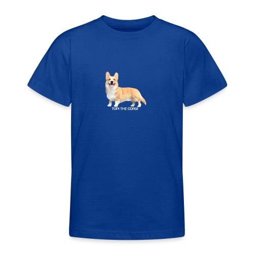 Topi the Corgi - White text - Teenage T-Shirt