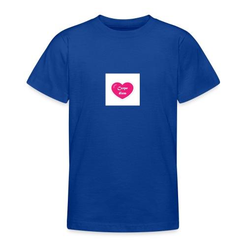 Spread shirt hjärta carpe diem vit text - T-shirt tonåring