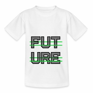 Future Clothing - Green Strips (Black Text) - Teenage T-shirt