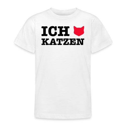 Ich liebe Katzen mit Katze als Herz - Teenager T-Shirt