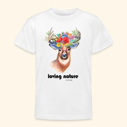 Ciervo con flores - Camiseta adolescente