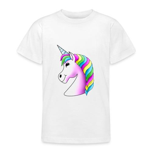 Rosa Einhorn mit Regenbogen-Mähne - Teenager T-Shirt