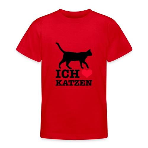 Ich liebe Katzen mit Katzen-Silhouette - Teenager T-Shirt