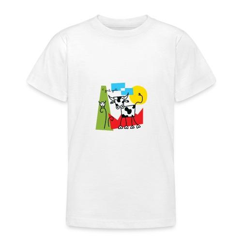 vache-noir-et-blanc et couleurs - T-shirt Ado
