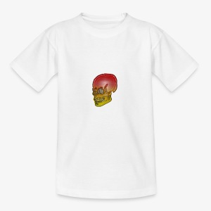 Silver red and yellow skull - Teenage T-shirt