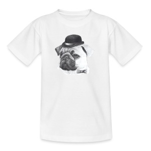 pug with bowler - Teenager-T-shirt