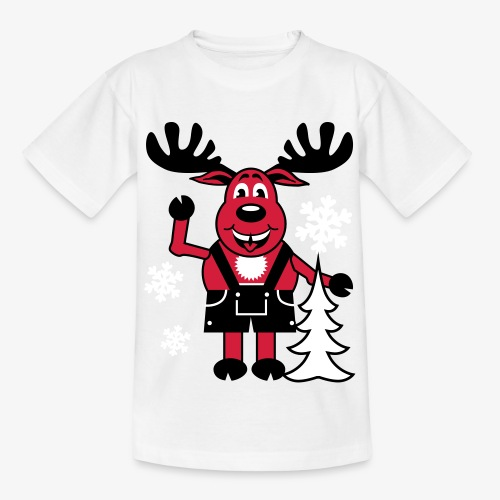 Hirsch Rudolph aus Bayern Lederhose Tannenbaum - Teenager T-Shirt