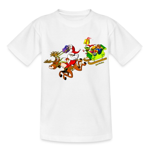 Santa's Gift Delivery with a Slingshot - Teenage T-Shirt