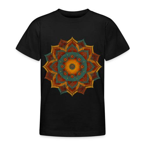 HANDPAN hang drum MANDALA teal red brown - Teenager T-Shirt