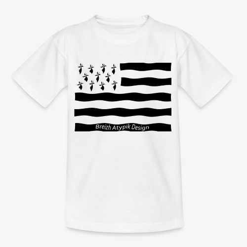 Gwenn ha Du-Noir fond transparent - T-shirt Ado