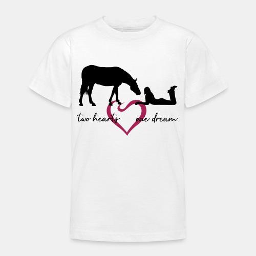 two hearts one dream liegendes Mädchen Pferd - Teenager T-Shirt