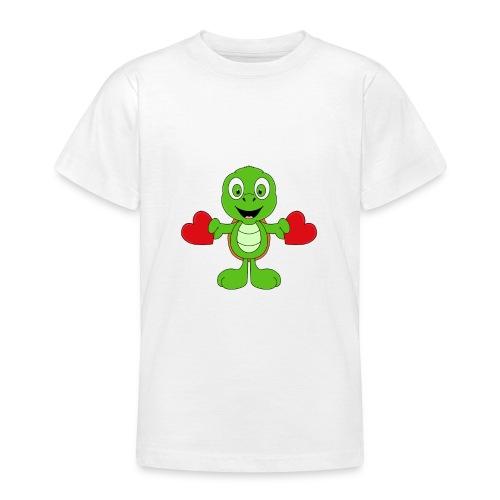 Lustige Schildkröte - Turtle - Herzen - Liebe - Teenager T-Shirt