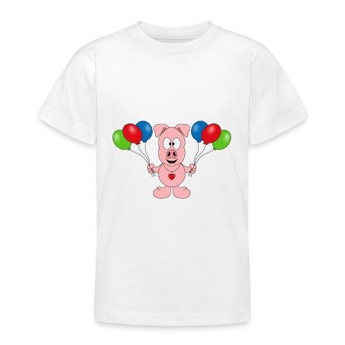 Lustiges Schwein - Luftballons - Geburtstag - Kids - Teenager T-Shirt