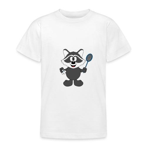 Lustiger Waschbär - Federball - Badminton - Teenager T-Shirt