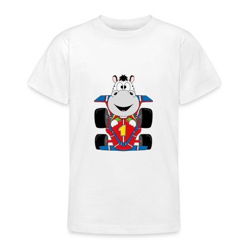 Lustiges Zebra - Rennauto - Auto - Nummer 1 - Teenager T-Shirt