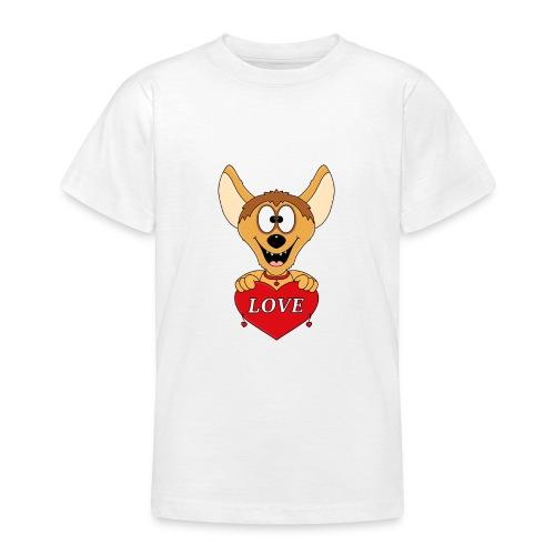Lustige Hyäne - Herz - Liebe - Love - Tier - Fun - Teenager T-Shirt