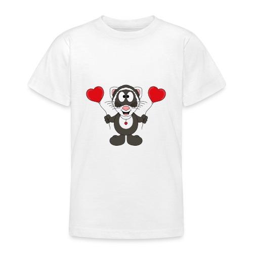 Lustiges Frettchen - Herzen - Luftballons - Tier - Teenager T-Shirt