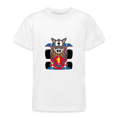 Lustiges Wildschwein - Rennwagen - Auto - Tier - Teenager T-Shirt