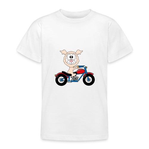 Lustiges Lama - Alpaka - Motorrad - Biker - Fun - Teenager T-Shirt