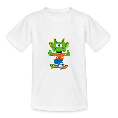 Lustiger Drache - Dragon - Skateboard - Sport - Teenager T-Shirt