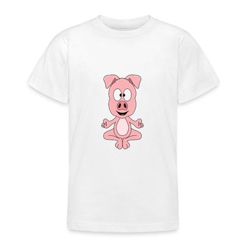 Lustiges Schwein - Yoga - Chill - Relax - Tier - Teenager T-Shirt