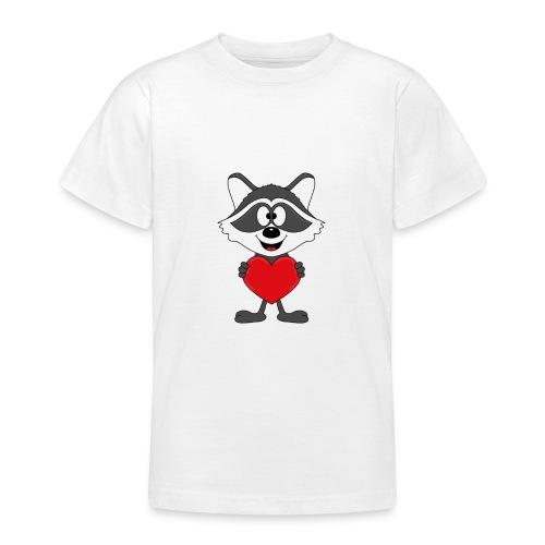 Waschbär - Herz - Liebe - Love - Kind - Tier - Teenager T-Shirt