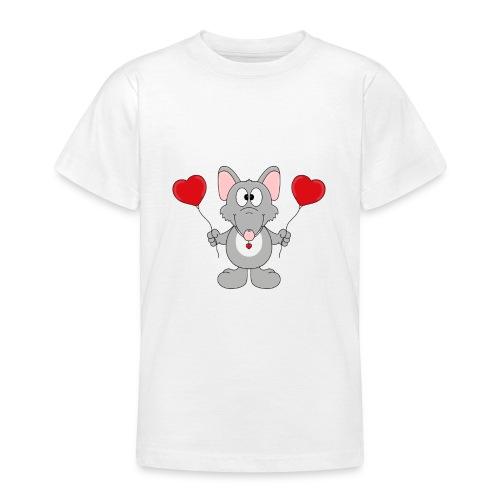 Ratte - Herzen - Luftballons - Geschenk - Tier - Teenager T-Shirt