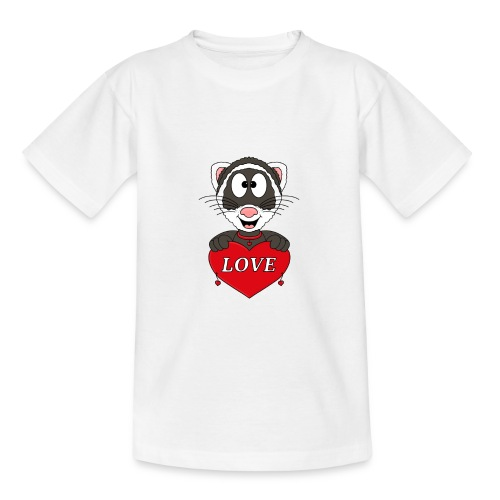 Frettchen - Herz - Liebe - Love - Tier - Kind - Teenager T-Shirt